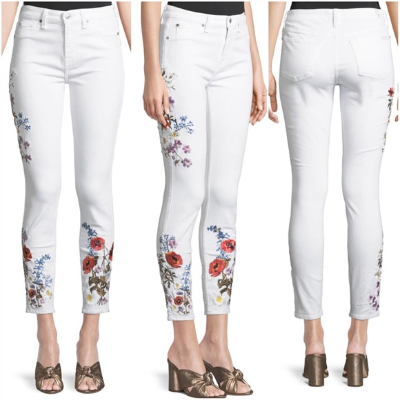 7 For All Mankind Denim - 7 Mankind White Floral Embroidered Ankle Skinny